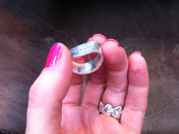 The D-shaped ring, ready to be soldered.