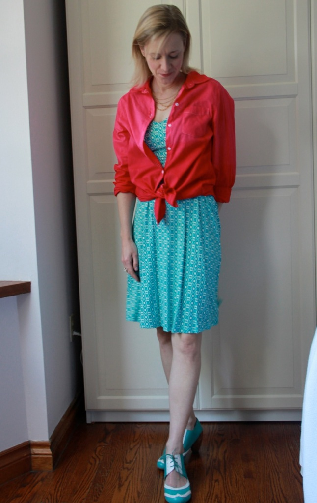 Dip-dyed shirt, jersey sundress from Joe Fresh, and Jump turquoise & white oxford shoes