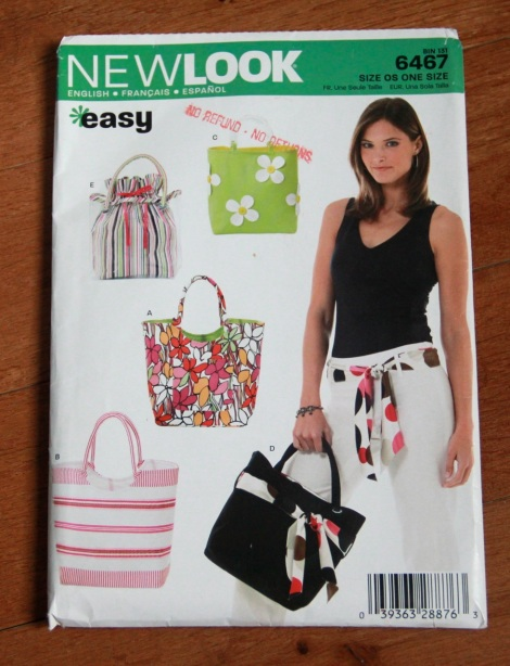 The New Look 6467 bag pattern that I've used a lot in the past.