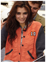 Vogue knitted varsity jacket. Um, no.