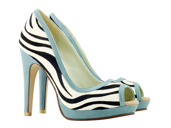 Zebra and soft teal peep-toe shoes.
