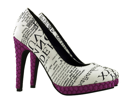 Platform heels in white leather with printed text, and magenta fishskin heels. Magenta! Fishskin!