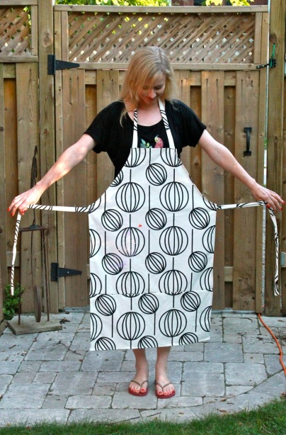 The basic shape of the apron. Authentically smeared with screen printing ink!