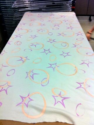 Silk screen layer #2: peach circles.