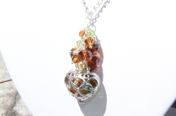 Crystals & heart pendant