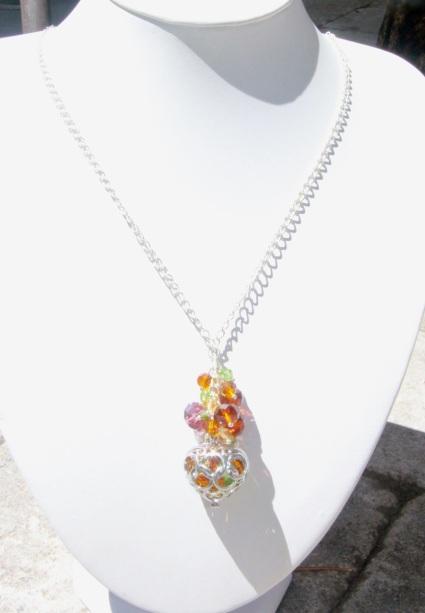 Crystal & heart pendant