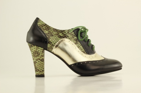 Shoes of Prey green, gold, black high-heeled oxfords