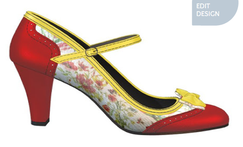 Red, yellow & floral mary-jane pump design from Shoes of Prey