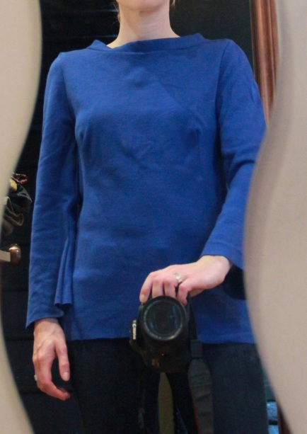 Burda V-neck Top in royal blue wool jersey