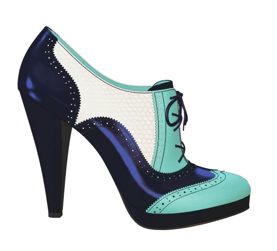 Shoes of Prey oxford in dark blue patent leather with turquoise toe cap and white snakeskin midpanel