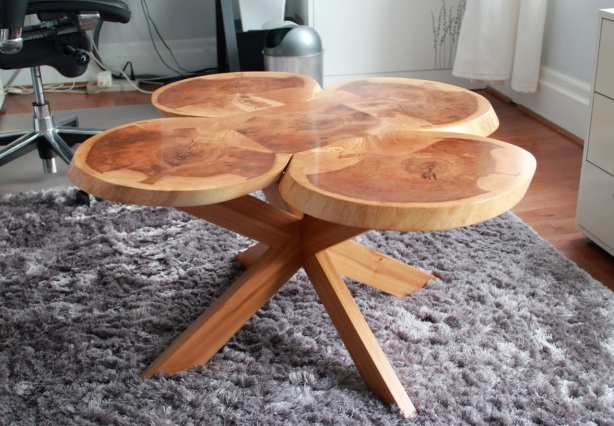Four-leaf clover coffee table designed & made by Dave Rose
