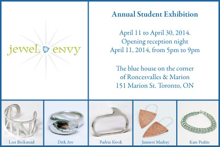 Jewel Envy Student Exhibition 2014 postcard