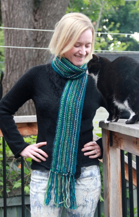 Snippet scarf in greens & blues