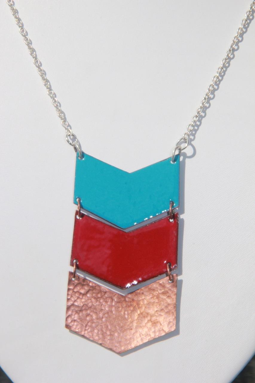Copper & enamel chevron necklace