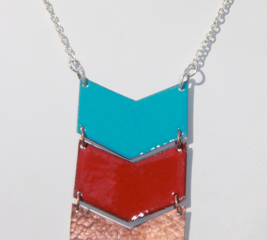 Copper & enamel chevron necklace