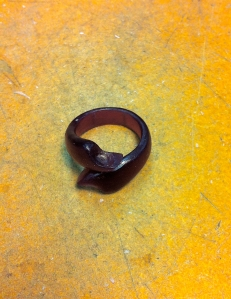 The wax carving of the ring