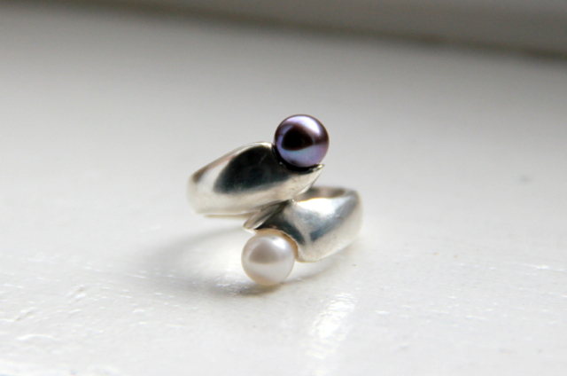 Thanks, I made it! Cast Silver Ring with Black and White