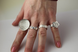 silver metal clay rings