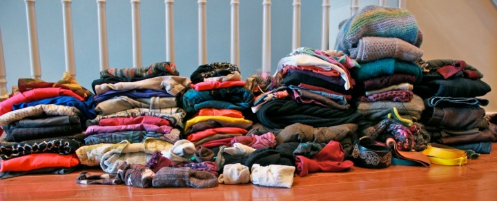 Just part of the pile of clothes I'm getting rid of. Not pictured: shoes, purses, more clothes. Yikes.