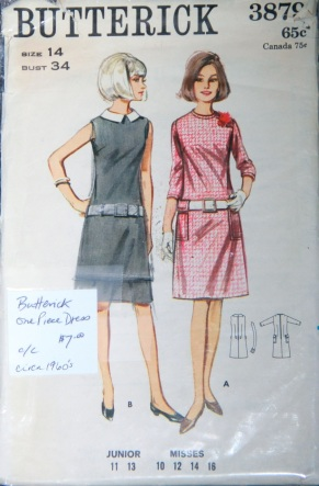 Butterick 3879 sewing pattern vintage 60s dress