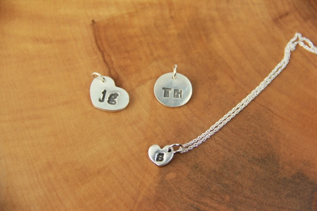 Silver clay initial pendants