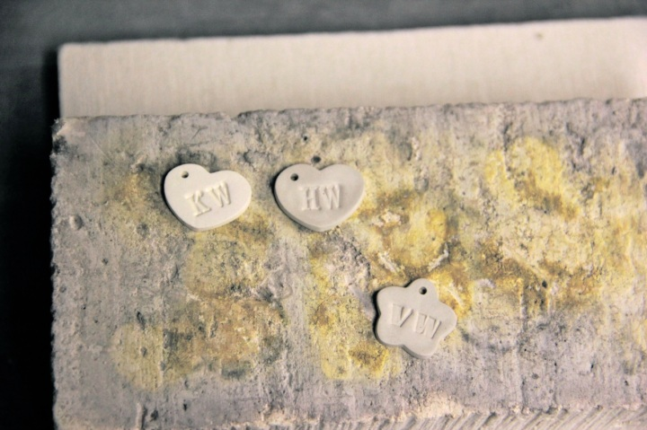 Metal clay pieces on the firing block