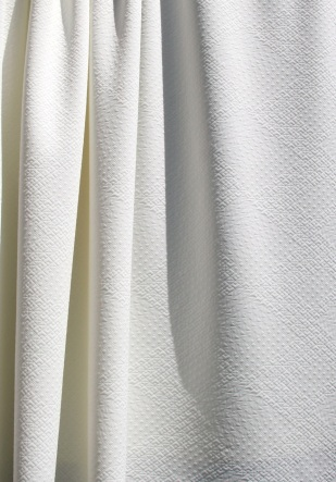 Textured White Polyester Stretch Fabric