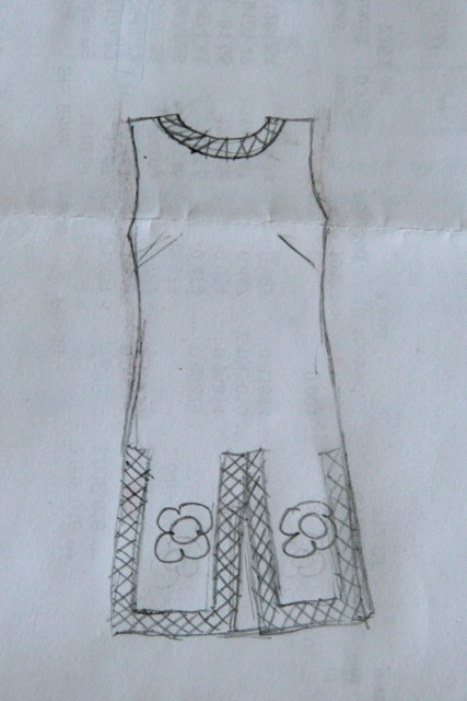 Sketch of a vintage 60s romper