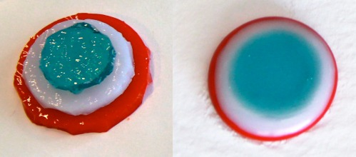 Glass bullseye: before and after fusing