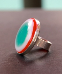 Glass Fused Ring with Silver bezel