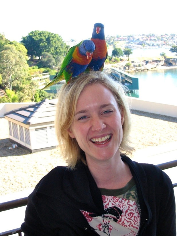 Throwback to 2004, when I lived in Sydney, Australia, and the rainbow lorikeets used to visit my apartment balcony regularly.