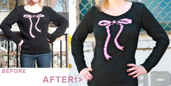 Sweetheart sweater before and after