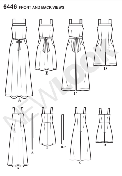 New Look 6446 Dress & Jumpsuit Line Drawing