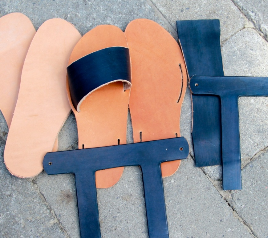 leather sandals - all the parts ready to be put together