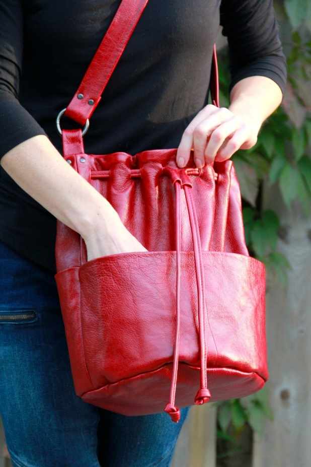 Red Leather Bundle Bag