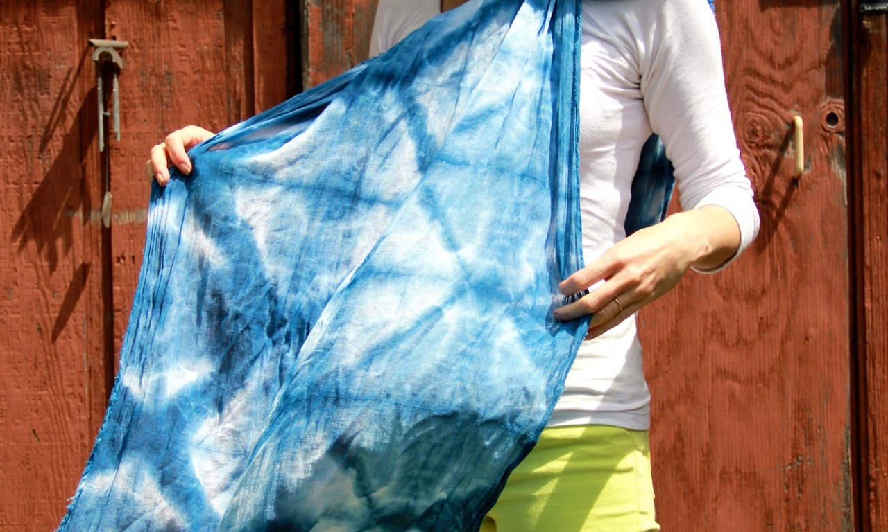 Frivolous at Last shibori-dyed cotton gauze scarf