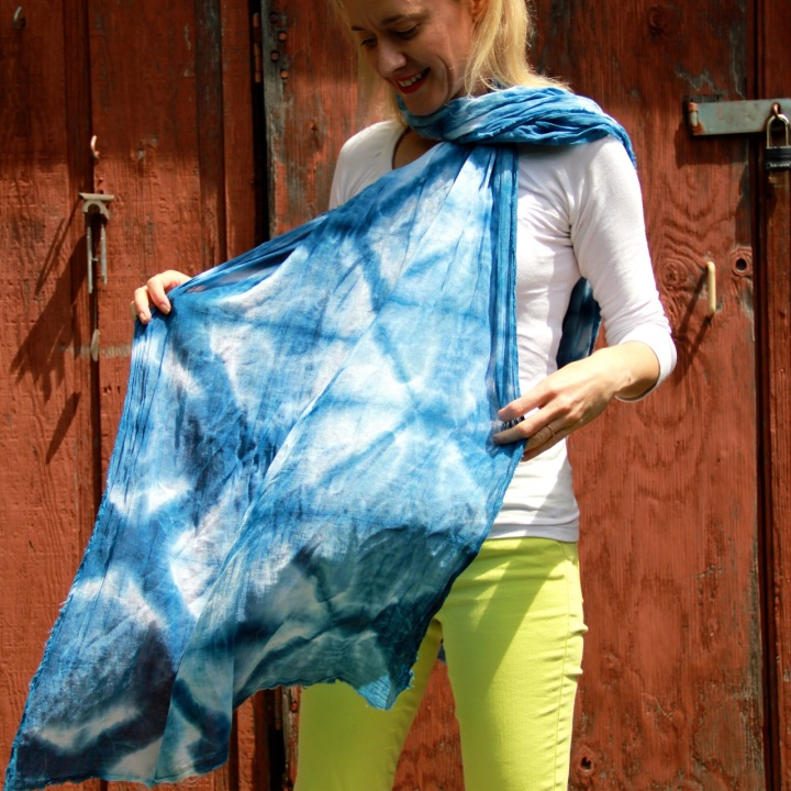 Frivolous at Last shibori-dyed cotton gauze scarf