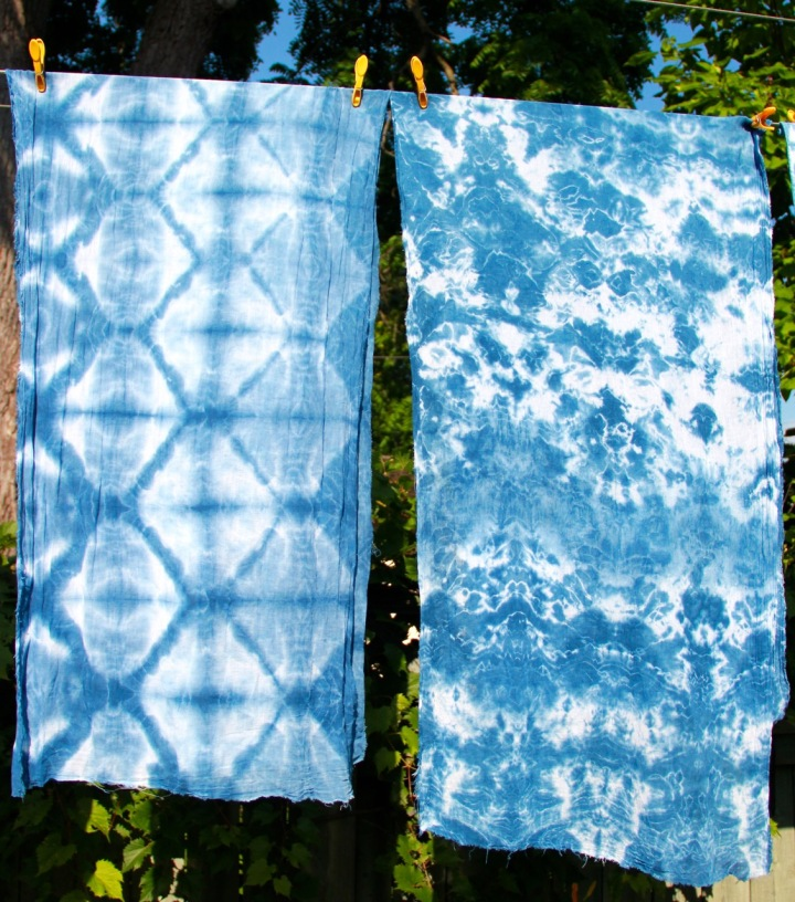 Frivolous at Last shibori-dyed cotton gauze scarves