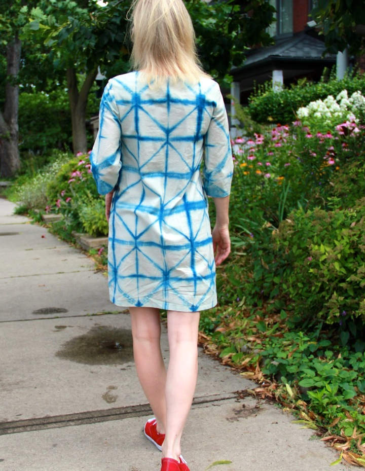 Frivolous At Last - Papercut Skipper Tunic in Shibori cotton linen - back view