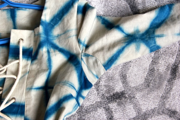 Frivolous At Last - Papercut Skipper Tunic in Shibori cotton linen - underarm gusset