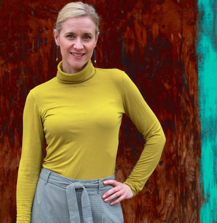 Paola Turtleneck in rayon-wool blend by Frivolous At Last