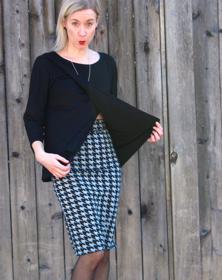 Frivolous at Last - Burda Wrap Blouse 04/2014 and Love Notions Sybil Illusion pencil skirt