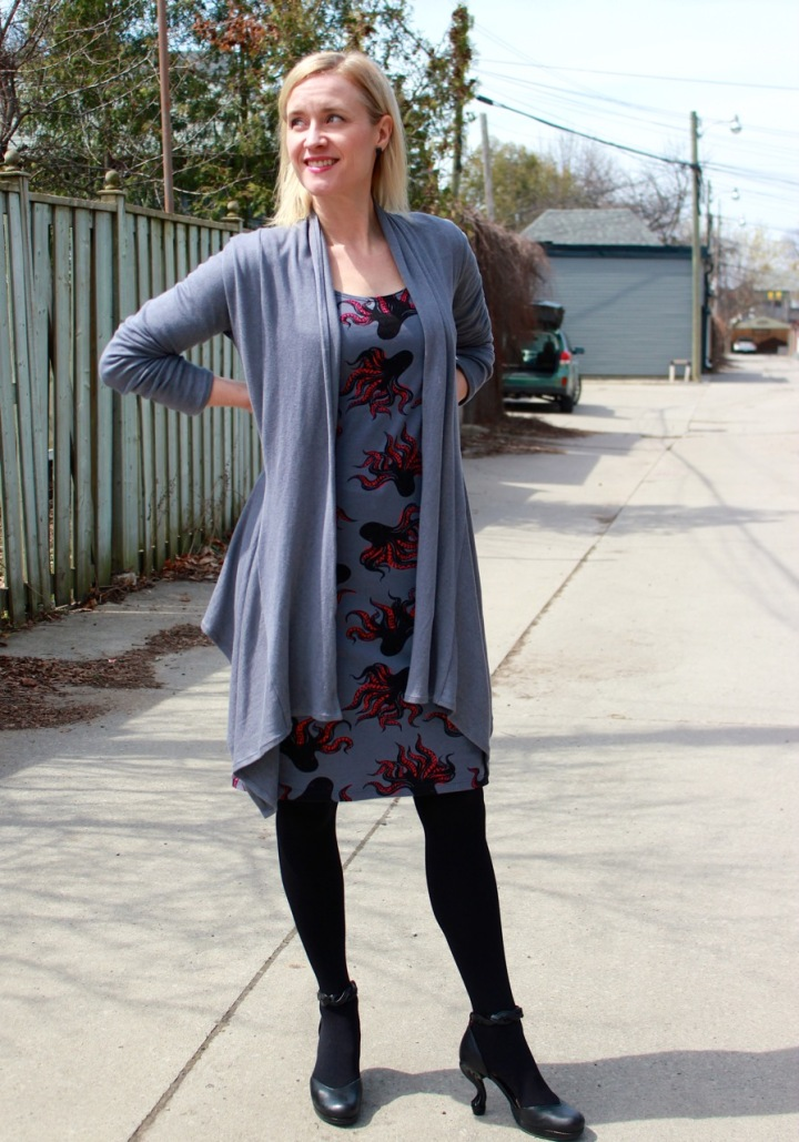 Frivolous at Last - McCall's 6886 octopus dress & Style Arc Nina Cardigan