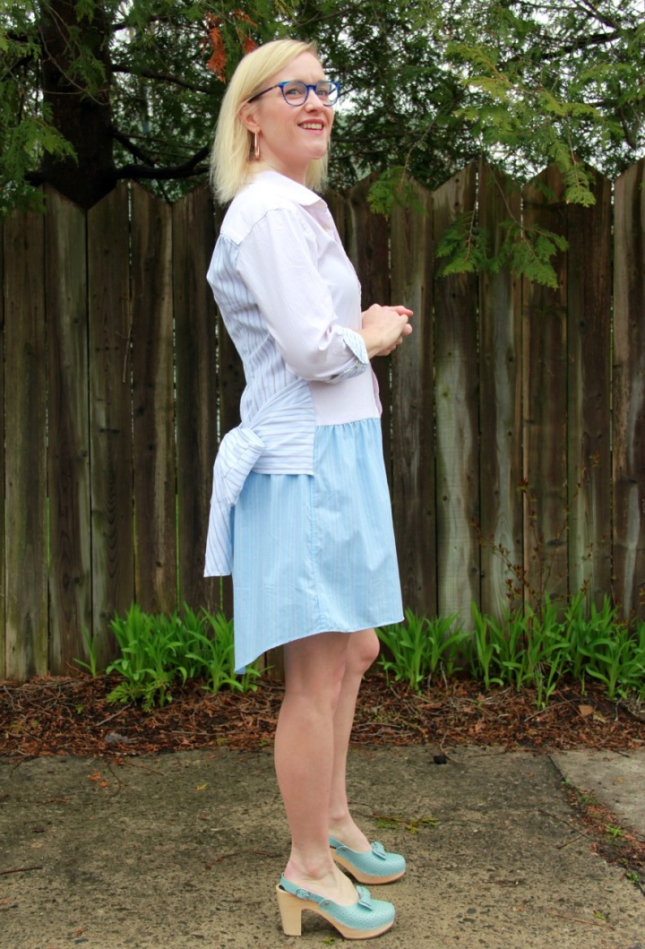 Frivolous at Last - Refashioned shirt dress with bow