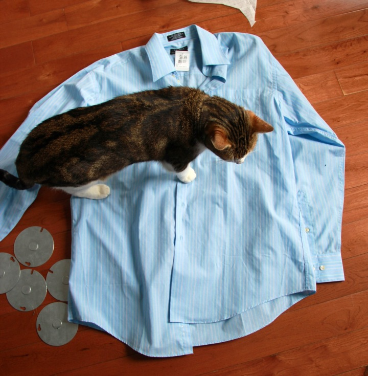 Frivolous at Last - Refashioned shirt dress with bow - original shirt with kitty inspector