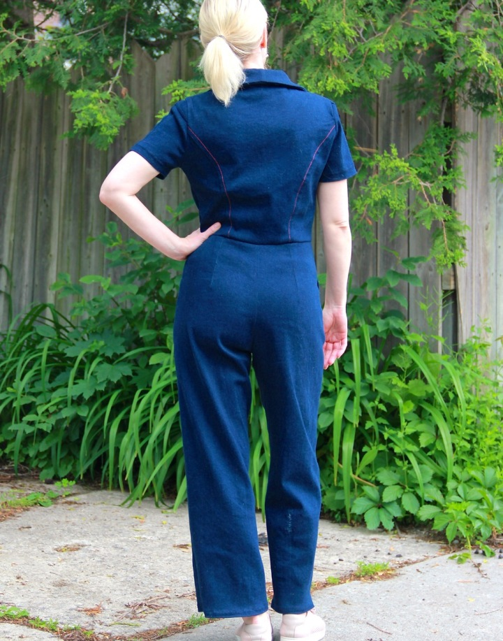 Frivolous at Last - McCalls 7908 Denim Jumpsuit - back view
