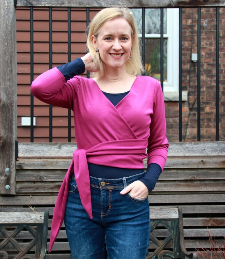 Frivolous at Last - Seamwork Elmira wrap top - pink ponte