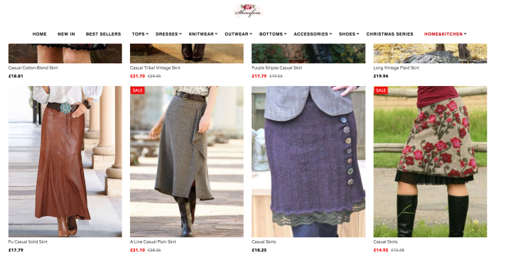 A screen shot from a website called Shineforu showing Lori's own skirt for sale among other skirts