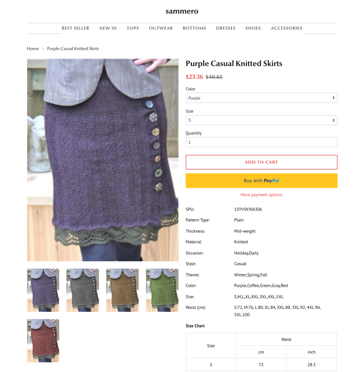 A screen shot of Lori's skirt for sale for $23.36, this time on a website called Sammero, also with 4 photoshopped colour options